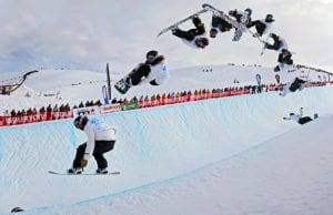 Freeze frames of Shaun White doing a Double Cork 1080