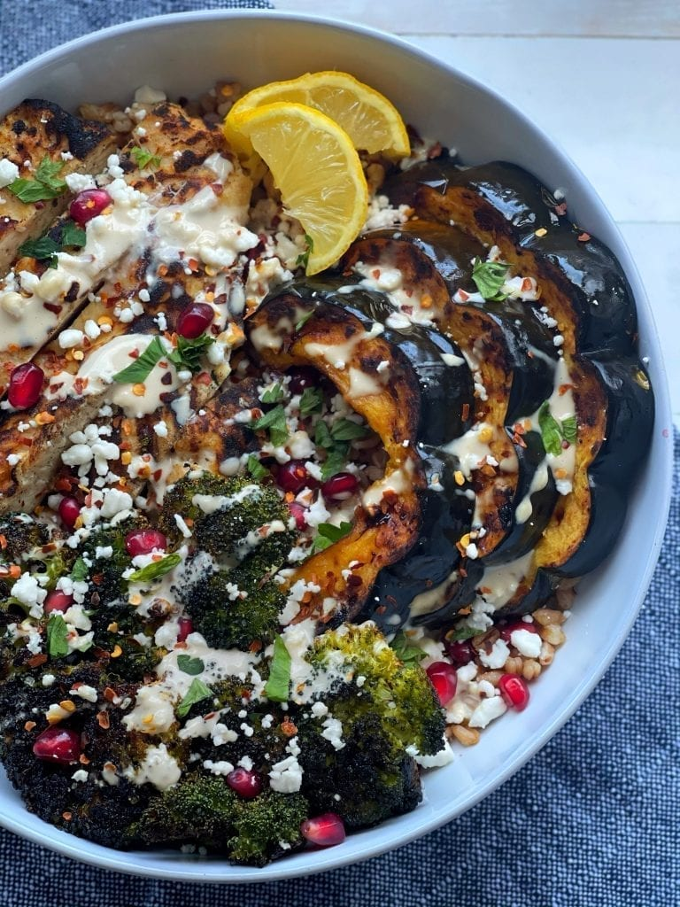 Farro Bowls with Roasted Charred Vegetables