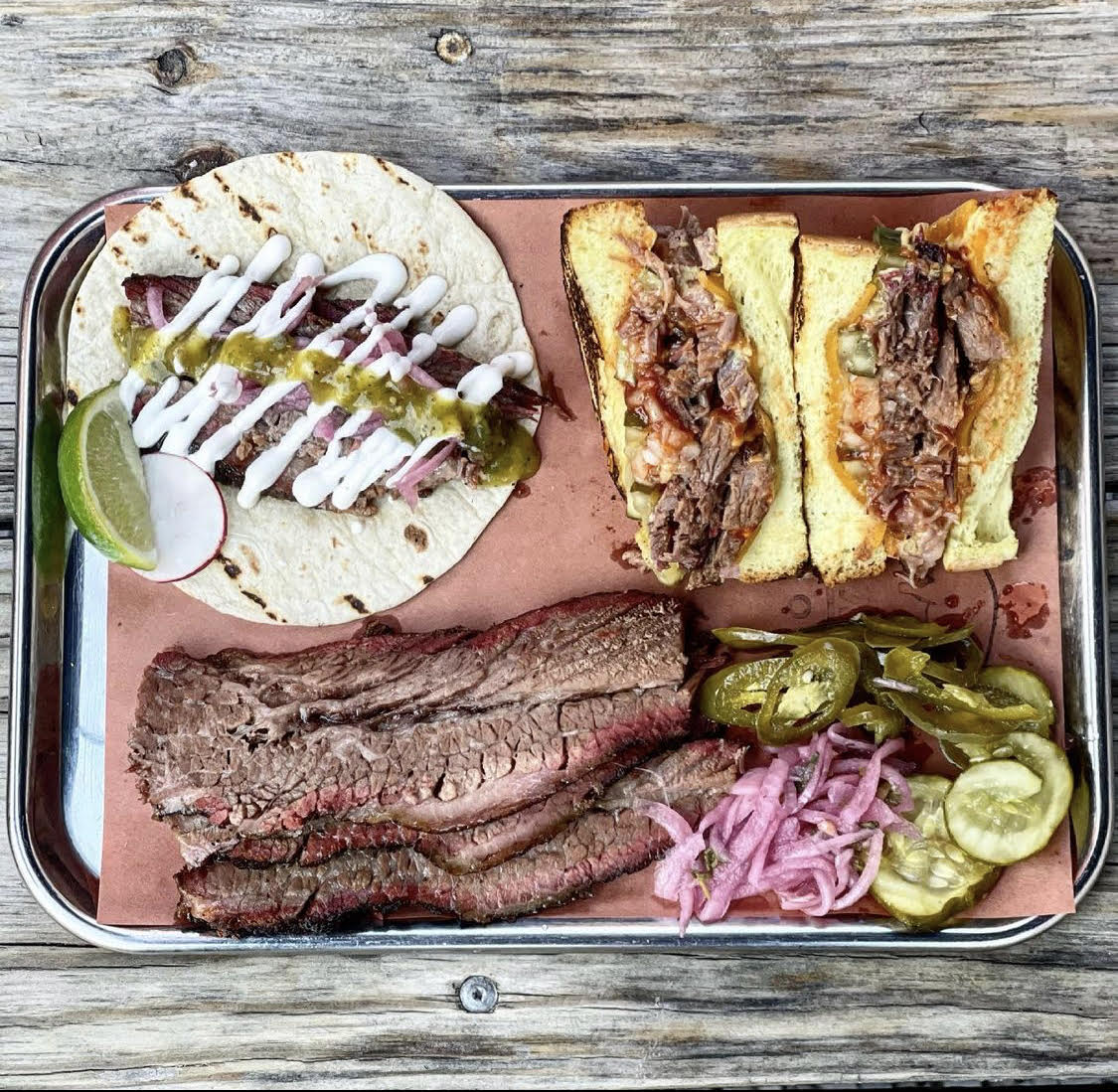 Smoked brisket, brisket tacos and sandwich from Hamilton Pork in Jersey City