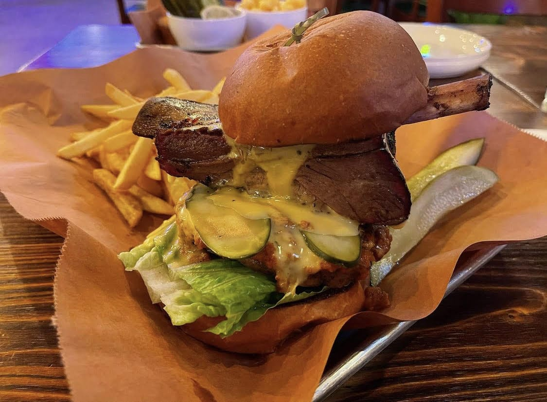 The Beef Rib Burger at OISO BBQ Pit in Fort Lee, NJ