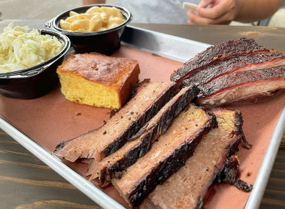 Barbecue platter with ribs and sides from Reilly's Rib Cage in Hillsdale, NJ